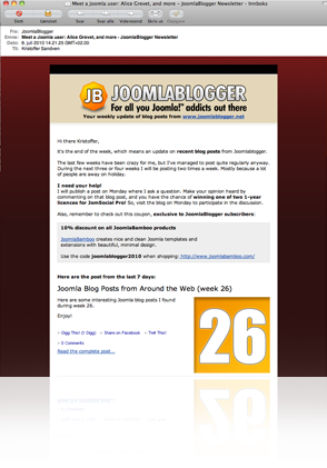 joomlablogger-newsletter-reflection