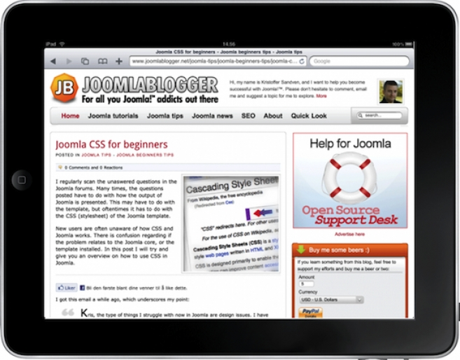 How to optimize your Joomla site for iPad