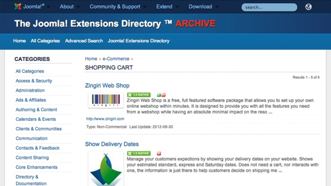 How to find extensions for Joomla 1.5